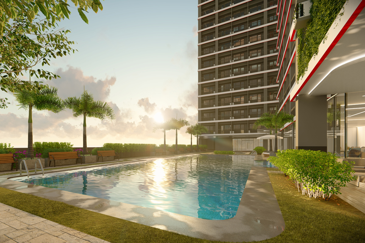 ASYA Design Projects-Red Residences Pool Amenity with Sunset View