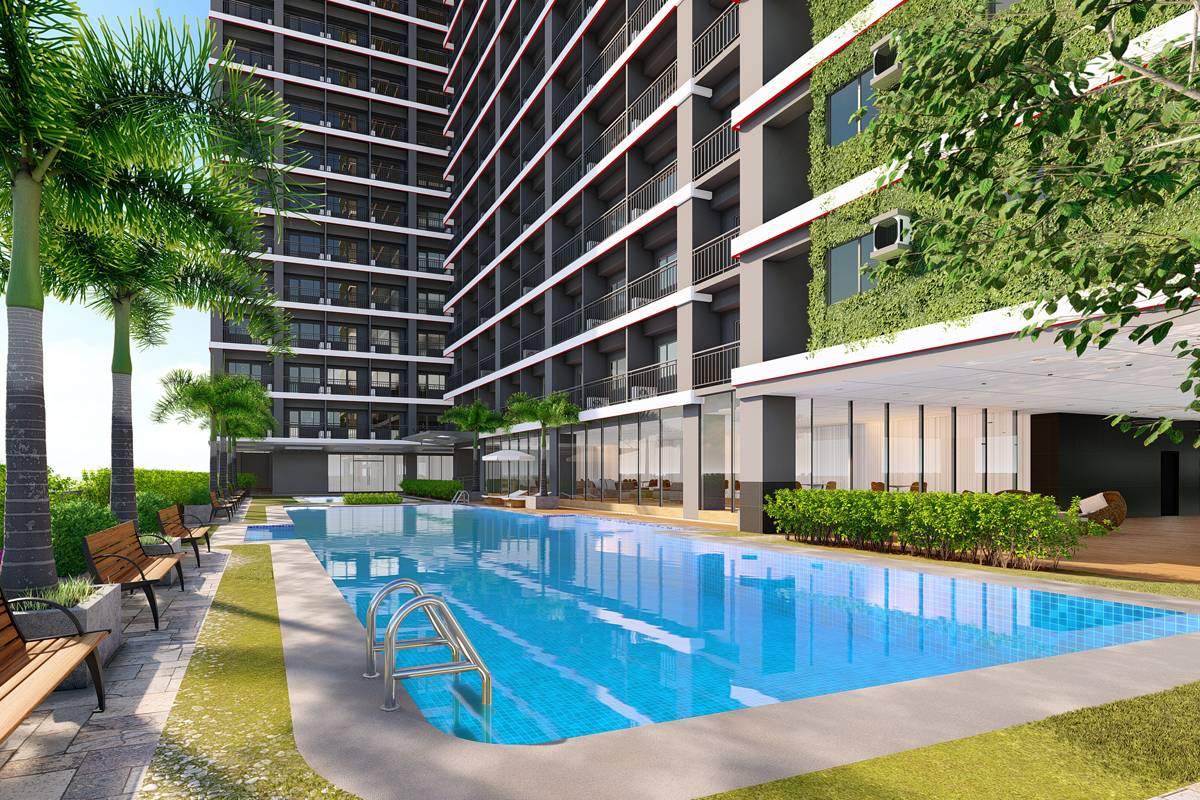 ASYA Design Projects-Red Residences Pool Amenity at Day Scene