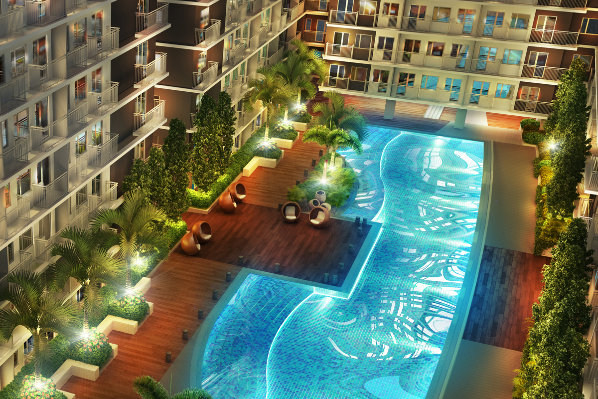 ASYA Design Projects-Shore 3 Residences Aerial View at Night