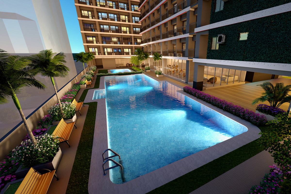 ASYA Design Projects-Red Residences Pool Amenity at Night