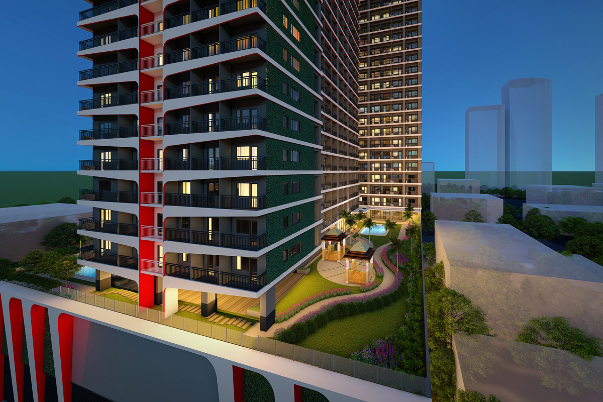 ASYA Design Projects-Red Residences Aerial View at Night Scene