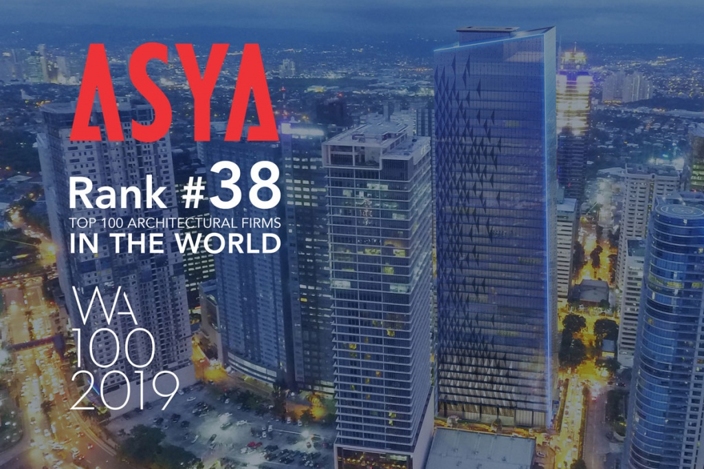 ASYA ranks 38th in the Top 100 Architectural Firms in the World 2019